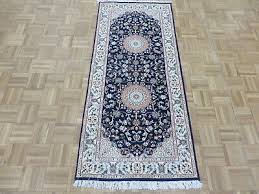 2 8 x 6 runner hand knotted blue persian nain with silk oriental rug g6615