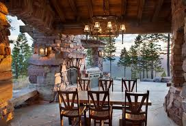 rustic outdoor lighting pertaining to patio with kitchen plan 9