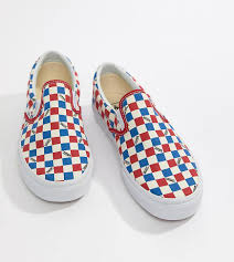Light Blue And Dark Blue Checkered Vans Factory Pack Checkerboard Slip On Plimsolls In Red Exclusive At Asos