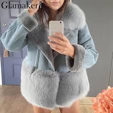 glamaker grey patchwork leather suede jacket women autumn streetwear chic winter coat women faux fur coat