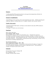 Resume Examples For Retail Sales Associate Retail Resume Objective Of Give Best Services Customers With