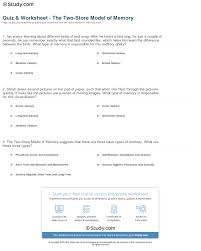 quiz worksheet the two store model of memory com print the two store model of memory types of memory and storage worksheet
