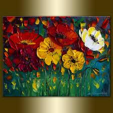 original poppy poppies textured palette knife oil painting contemporary fl modern art 12x16 by willson
