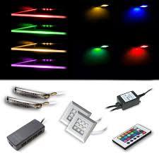 Led Rgb Glass Edge Lighting Clips Vladon Led Rgb Lighting Set With 3 Rgb Glass Edge Clips And 3 Down Light Spots