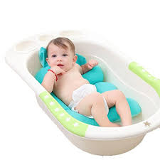 newborn baby bath tub pad non slip shower cushions floating soft comfortable baby bath pillow for infant brackets green