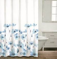 gray and blue shower curtain. caro botanical nature 100% cotton shower curtain floral poppy seed flower design gray blue ash and r