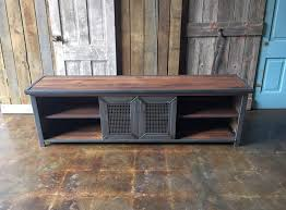 industrial media furniture. industrial reclaimed wood steel media console furniture t