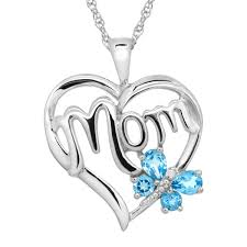 details about 1 2 ct natural swiss blue topaz mom heart pendant with diamond sterling silver