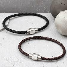 mens personalised clasp slim leather bracelet