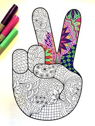 Small Picture Peace Hand Sign PDF Zentangle Coloring Page by DJPenscript