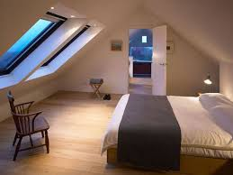 Simple and awesome attic bedroom. Love those skylight windows and inset