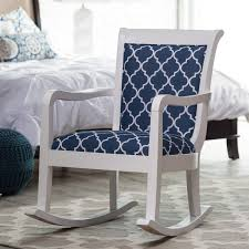 Furniture White Rocking Chair For Nursery With Blue Cushions On Navy Blue Rocking Chair Pads