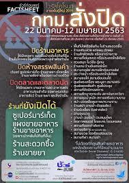 กรุงเทพมหานครสั่งปิด 22 มีนาคม – 12 เมษายน 2563 ตามประกาศกรุงเทพมหานคร  เรื่อง สั่งปิดสถานที่เป็นการชั่วคราว (ฉบับที่ 2) สั่งปิดสถานที่รวม 26 ประเภท