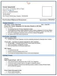 Mba Resume Format Interesting Resume Format For MBA Finance Fresher 48 Career Pinterest