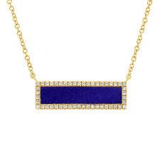 0 82 tcw 14k yellow gold lapis and diamond bar rectangular pendant necklace