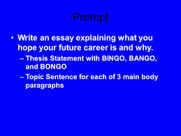 the bing the bang and the bongo ppt video online  prompt write an essay explaining what you hope your future career is and why thesis