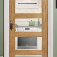 contemporary oak 5 panel pre glazed internal door