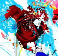 world painting 48x46 beautiful world rose red signed art abstract paintings modern
