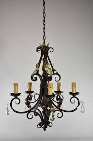 antique wrought iron 5 arm chandelier with crystals