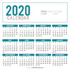 Yearly Calendar Template 2020