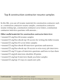 contractor resume sample graduate resume samples college essay thumbnail 4jpg cb 1432888281 top8constructioncontractorresumesamples 150529083040 lva1 app6891 thumbnail 4 top 8 construction contractor resume samples