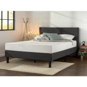 Zinus Upholstered Diamond Stitched Platform Bed with Wooden Slats