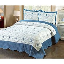 Amazon.com: Homemusthaves-3pc Bedspread Quilted Bed Cover Light ... & Homemusthaves-3pc Bedspread Quilted Bed Cover Turquoise Embroidery Quilt  Cream (Queen) Adamdwight.com