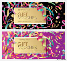 Christmas Gift Coupon Gift Coupon With Colorful Ribbons Serpentine And Glitter