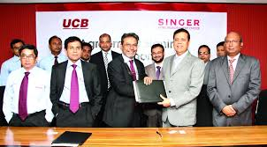 bank and am hamim rahmatullah managing director of singer desh ltd sign an agreement at its corporate head office on tuesday ucb credit card