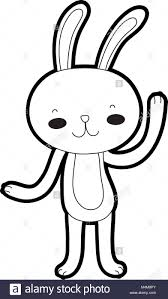 Outline Happy Rabbit Cartoon Cute Animal Stock Vector Art