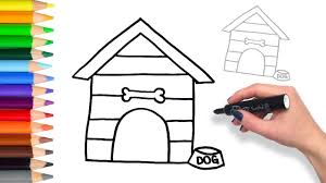 Learn How to Draw Dog House | Teach Drawing for Kids and Toddlers ...
