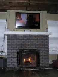 painting red brick fireplace grey dashing