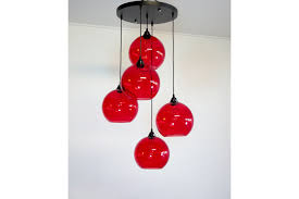 vintage light red glass ball chandelier sconce photo 1