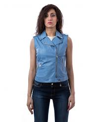 gilet sky blue color nappa lamb leather sleeveless biker jacket smooth effect