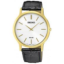 men s seiko watches h samuel seiko solar men s gold plated black leather strap watch product number 5253004