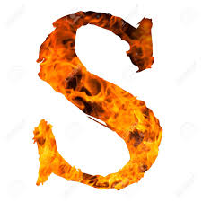the letter S caught on blazing fire Stock