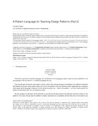 Head First Design Patterns Pdf C Pdf A Pattern Language For Teaching Design Patterns Part 2