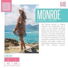 Lularoe Monroe Size Chart L Lularoe Monroe Kimono Sheer Fringe Paisley Boutique