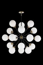 bistro medium round chandelier in hand rubbed antique brass and black with white glass