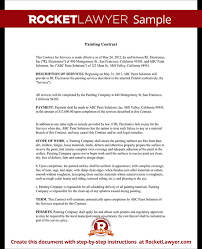 Painting Contract Free Contract For Services Template With Sample