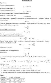 Physics 2 Formula Chart List Of Physics 232 Handouts