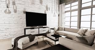 smart tv on cabinet in living room