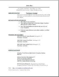Resume For Veterinary Assistant High School Grad Resume Sample