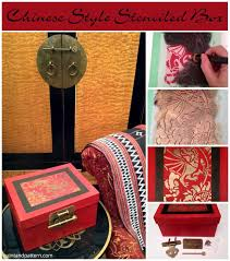 diy lacquer furniture. chinese stencils make a diy stenciled box look like lacquer box. furniture diy