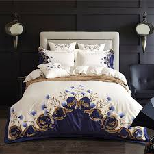 queen size bed sets white blue embroidered luxury bedding set 60s egyptian cotton double layout design minimalist