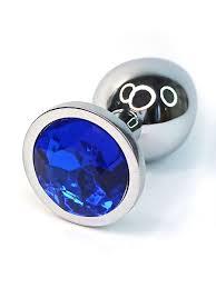 Серебристая <b>анальная пробка</b> из нержавеющей стали с синим ...