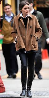 olivia palermo wearing brown pea coat black fur vest white dress shirt black leather leggings women s fashion