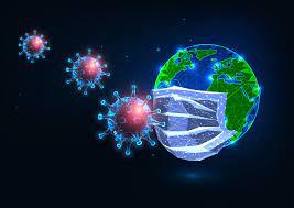 Pandemia futurista de coronavirus covid-19 global. la máscara médica  protege al planeta de los virus. | Vector Premium