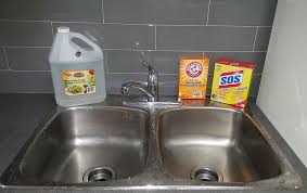 how to clean stainless steel sink stains naturally with baking soda vinegar
