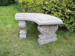 large curved garden bench hand cast